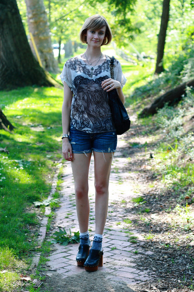 white Forever 21 top - blue abercrombie and fitch shorts - gray Ralph Lauren soc