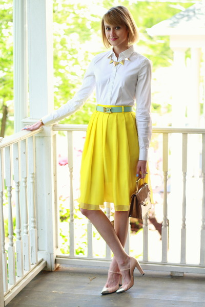 yellow midi romwe skirt - button-down ann taylor shirt