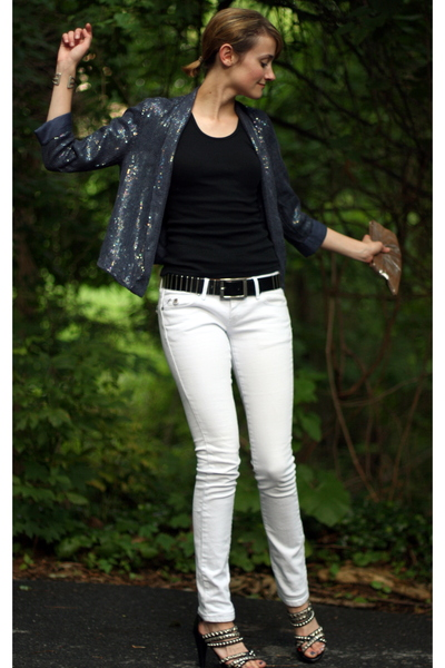 white white Mango jeans - black stud Jeffrey Campbell shoes