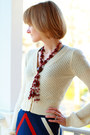 Ivory-v-neck-cardigan-catherine-malandrino-sweater-crimson-beaded-vintage-neck