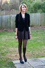 Green-velvet-thrifted-blazer-puce-lurex-topshop-dress-black-chanel-bag
