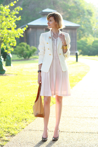 White Doubles, Breasted Zara Blazers, Light Pink Pleated ...