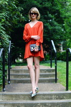 black mini Sophie Hulme bag - carrot orange open sleeve asos dress