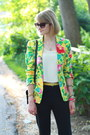 Black-tailored-zara-pants-yellow-floral-thrifted-blazer