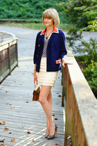 navy orange collar vintage blazer - mustard structured vintage bag