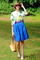 white Topshop top - pink J Crew belt - blue vintage skirt - white Nicole shoes -