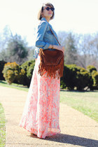 sky blue denim jacket Levis jacket - peach floral maxi BB Dakota dress