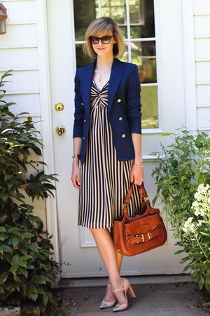 navy double-breasted Zara blazer - neutral striped ted baker dress