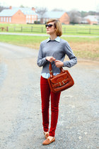 burnt orange saddlebag Bally bag - ruby red skinny jeans Zara jeans