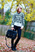 white French Connection sweater - navy H&M jeans - black Saddleback Leather bag