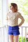 Violet-high-waisted-ksubi-shorts-off-white-cableknit-romwe-sweater