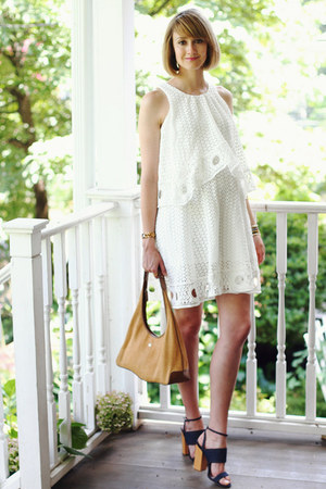 white eyelet Pixie Market dress - navy denim Tabitha Simmons heels