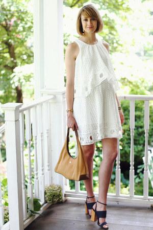 white eyelet Pixie Market dress - navy denim Tabitha Simmons heels