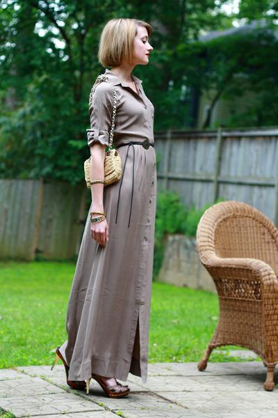 beige shirt dress Trovata dress - mustard rafia chain banana republic bag - dark