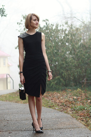 black leather BCBG watch - black leather sleeve rag & bone dress