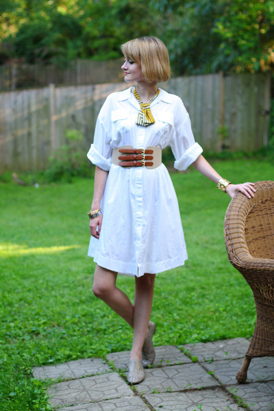 white shirt dress Twenty8Twelve dress - tan tri-buckle H&M belt - mustard lady t