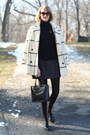 Ivory-plaid-vintage-coat-black-cardigan-zara-sweater