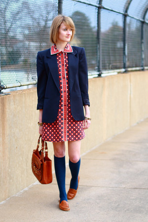 navy shoulder pads vintage blazer - ruby red Kate Hill dress