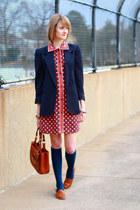 navy shoulder pads vintage blazer - ruby red Kate Hill dress
