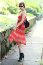 Red-sheer-romwe-dress-black-studded-bag-kmrii-bag
