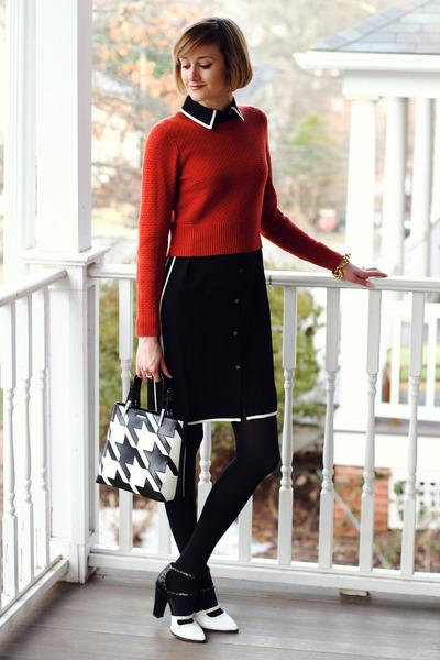 black contrast ann taylor dress - burnt orange cropped banana republic sweater