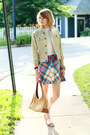 Gold-zara-sandals-sky-blue-plaid-vintage-dress
