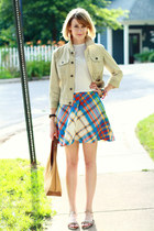 sky blue plaid vintage dress - lime green jean jacket 7 for all mankind jacket