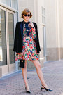 Salmon-floral-ganni-dress-black-velvet-mango-blazer-black-mini-vintage-bag