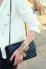 Black-quilted-chanel-bag-white-double-breasted-zara-blazer