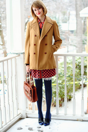 mustard vintage peacoat Brooks Brothers coat - red print Kate Hill dress