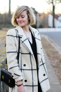 Ivory-plaid-vintage-coat-black-cardigan-la-redoute-sweater