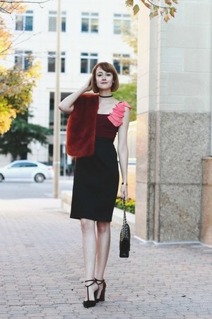 black quilted Chanel bag - brick red cocktail dress Jay Godfrey dress
