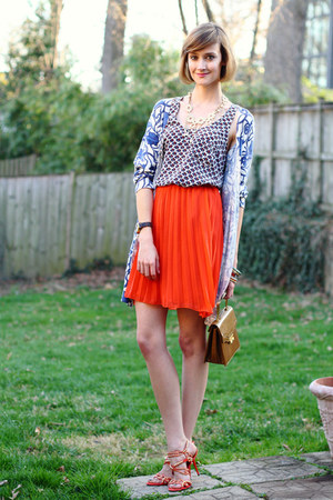 carrot orange pleated romwe skirt - blue floral Anthropologie sweater