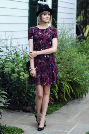 black porkpie vintage hat - magenta bird print Oasis dress