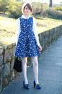White-button-down-ann-taylor-shirt-blue-floral-print-zara-dress
