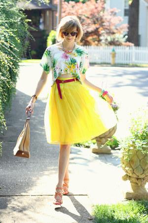 yellow knee length romwe skirt - hot pink ribbon JCrew belt