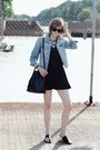 Black-lace-up-h-m-dress-sky-blue-jean-jacket-levis-jacket