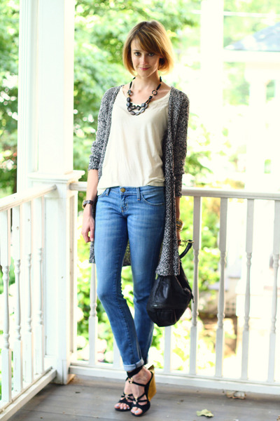 beaded Papazian Design necklace - skinny Current Elliott jeans
