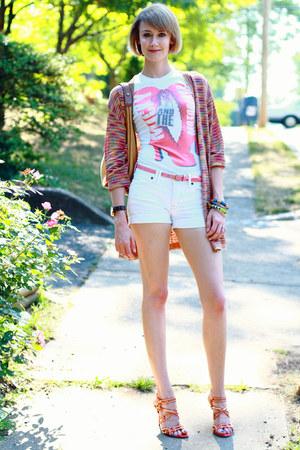 studded cesare paciotti sandals - jean shorts madewell shorts - Missoni cardigan