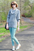 aquamarine skinny jeans Zara jeans - heather gray cowl neck H&M sweater