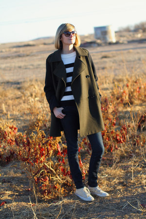 olive green Mango coat - navy skinny H&M jeans - white striped Jigsaw sweater