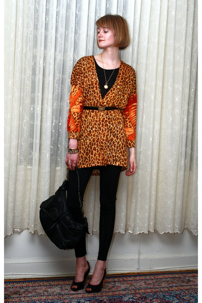 orange vintage top - black costume dept leggings - black PROENZA SCHOULER shoes