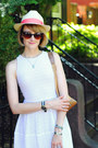 White-eyelet-bcbg-dress-light-yellow-straw-fedora-lou-lou-hat