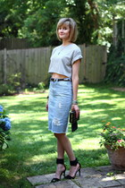 light blue distressed Zara skirt - black fringe Topshop bag