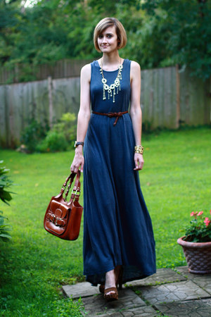 tawny saddlebag Bally bag - navy maxi dress patterson j kincaid dress