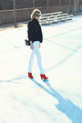 White-skinny-mango-jeans-red-ankle-boots-zara-boots
