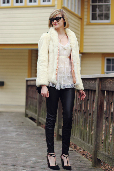 ivory fur vintage coat - black mini Sophie Hulme bag - ivory lace nolita top