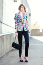 Bubble-gum-floral-print-zara-blazer-black-quilted-chanel-bag