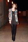Black-lurex-topshop-dress-aquamarine-floral-print-zara-blazer