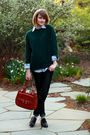 Green-mens-sweater-blue-j-press-shirt-black-candela-shoes-brown-bally-purs